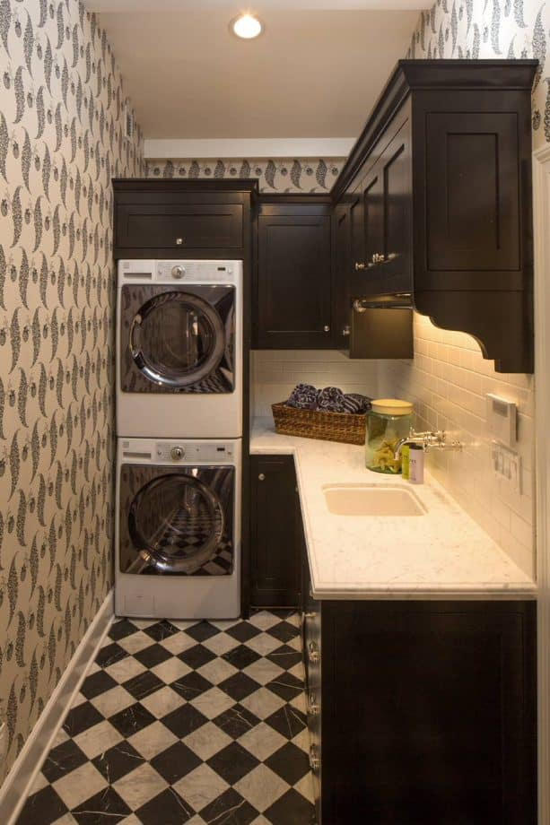black and white checkered marble tile in a laundry room