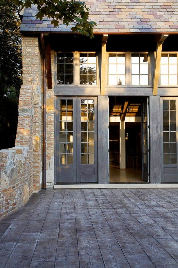 rustic entry with stained concrete wood floor