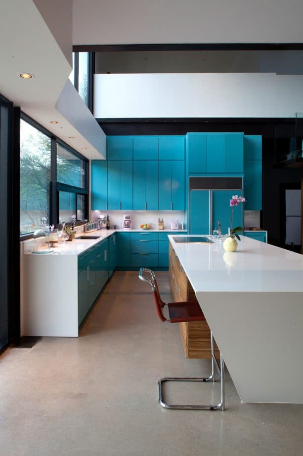 modern turquoise and black kitchen design