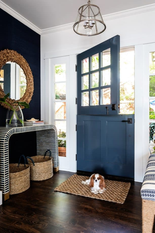 Dutch-style inky navy front door