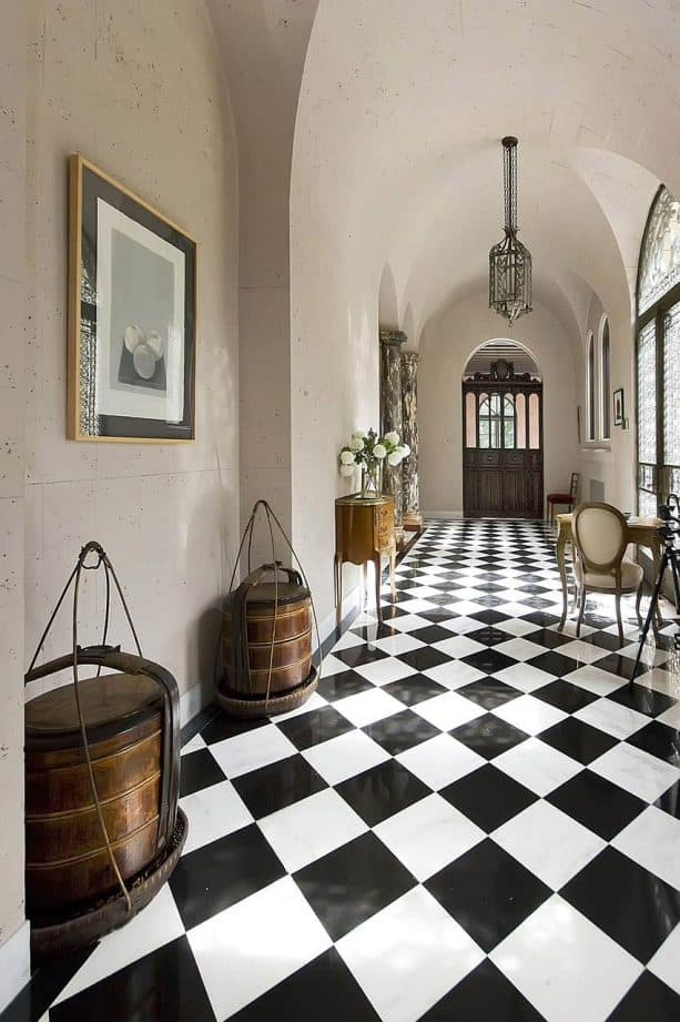 black and white ceramic tile in a traditional hallway
