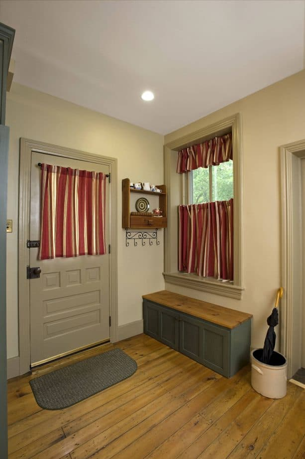 red stripes tier curtain in Victorian entry design