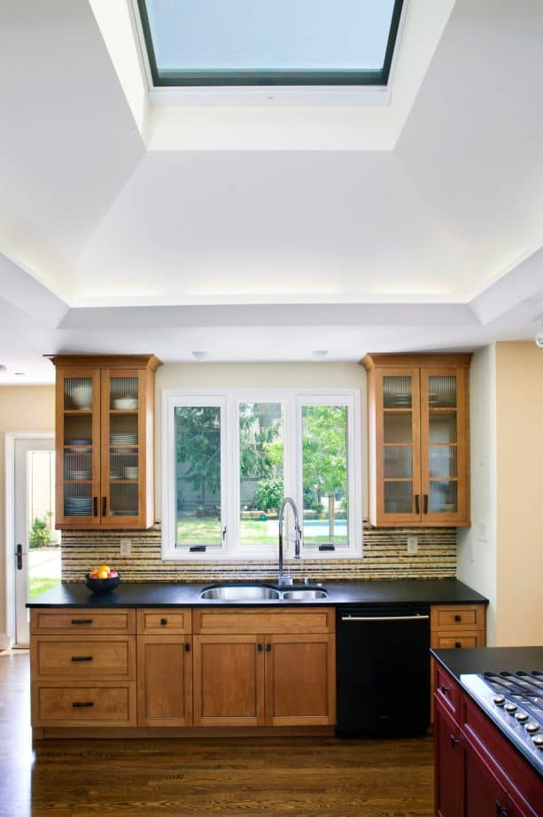 after remodel raised ranch kitchen with new skylight