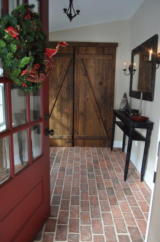 rustic floor from thin brick tile in a traditional hallway