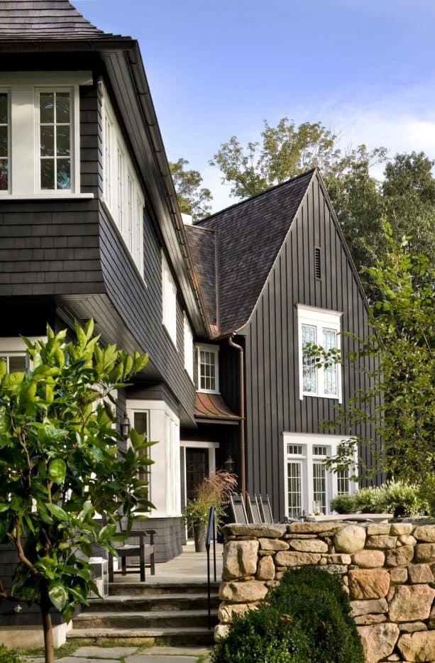 an Onyx 2133-10 black urban farmhouse exterior with white trim