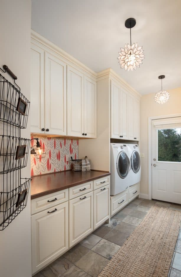 white and beige laundry room