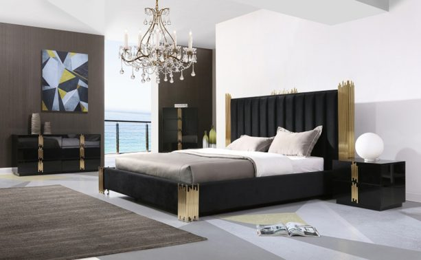 a set of modern bedroom furniture with black and gold theme