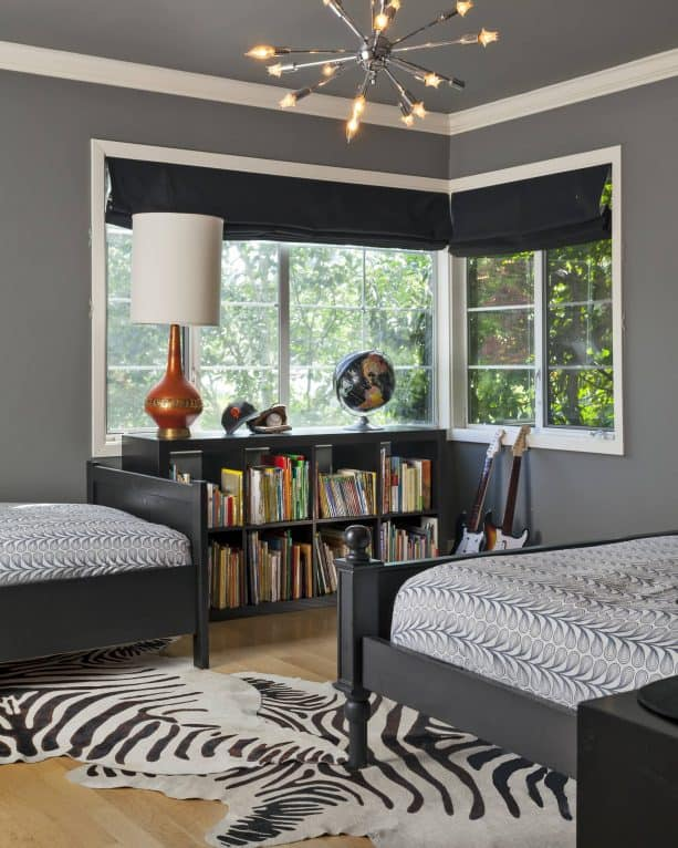 contemporary boys shared bedroom with benjamin moore chelsea gray HC-168 wall paint