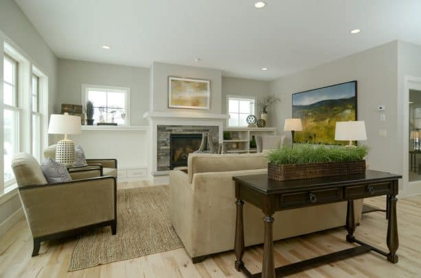 farmhouse living room with Sherwin-Williams worldly gray SW 7043 wall paint color