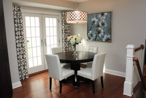small transitional dining room with Sherwin-Williams worldly gray SW 7043 warm gray paint