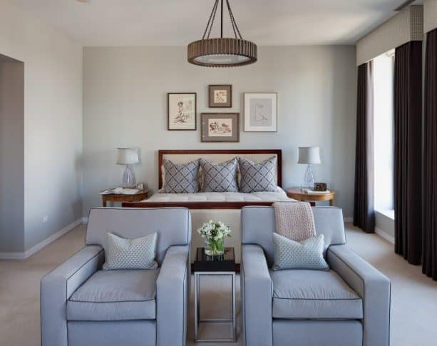 traditional bedroom with benjamin moore gray owl OC-52 wall paint color