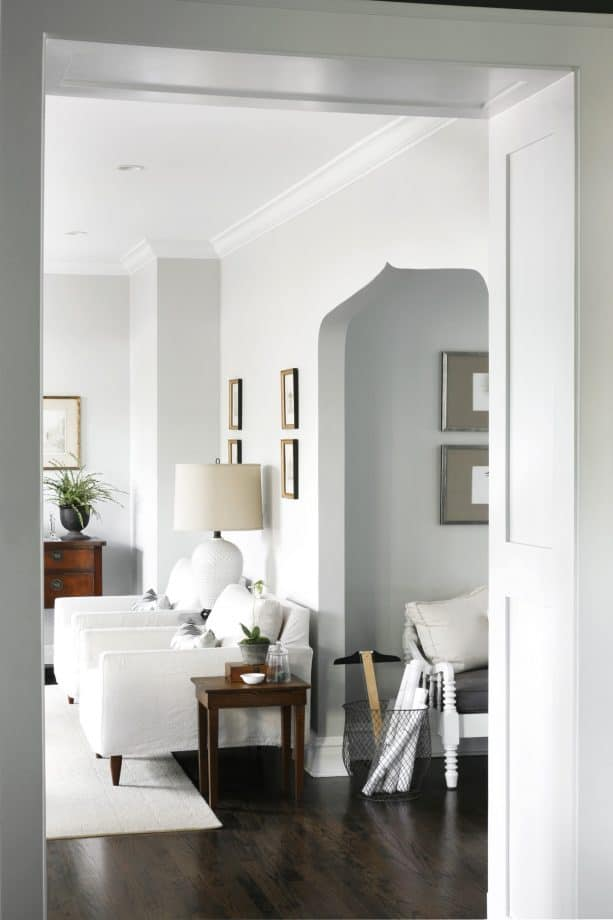 transitional family room with Benjamin Moore gray owl 2137-60 warm gray paint color