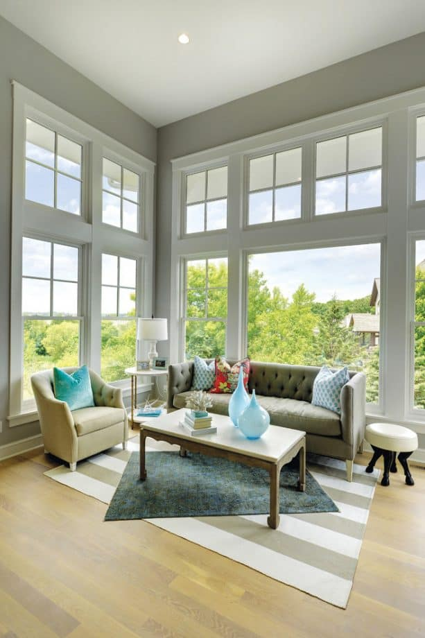 transitional living room with benjamin moore silver chain 1472 wall paint
