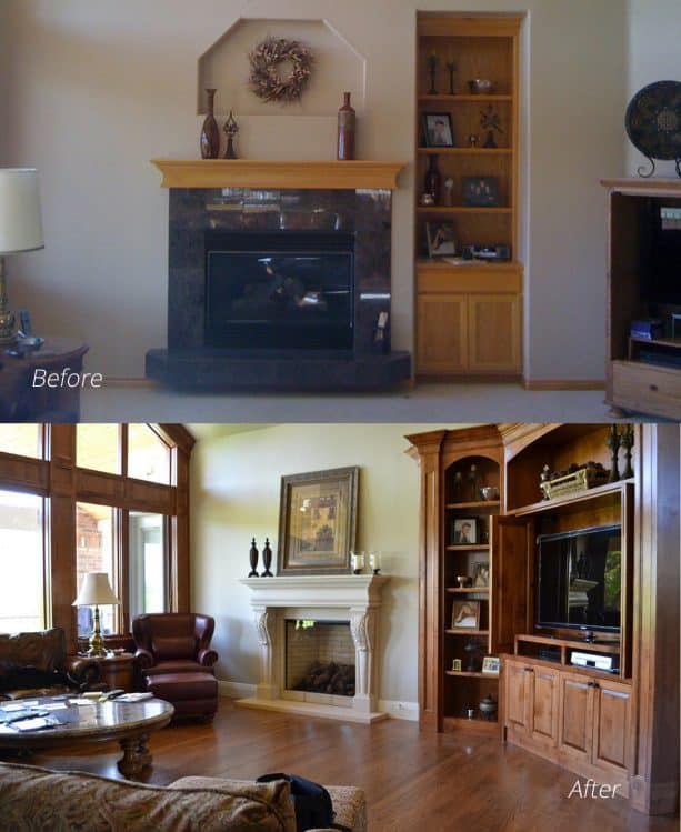 floor to ceiling brick fireplace makeover [before and after]