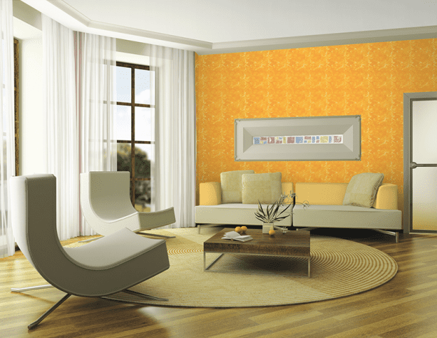 contemporary living room with Nippon Paint Antique White 369 paint color on the ceiling