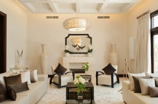 transitional living room with Jotun Antique White 1016 paint color