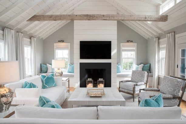 beach-style grey and blue living room with soft tones