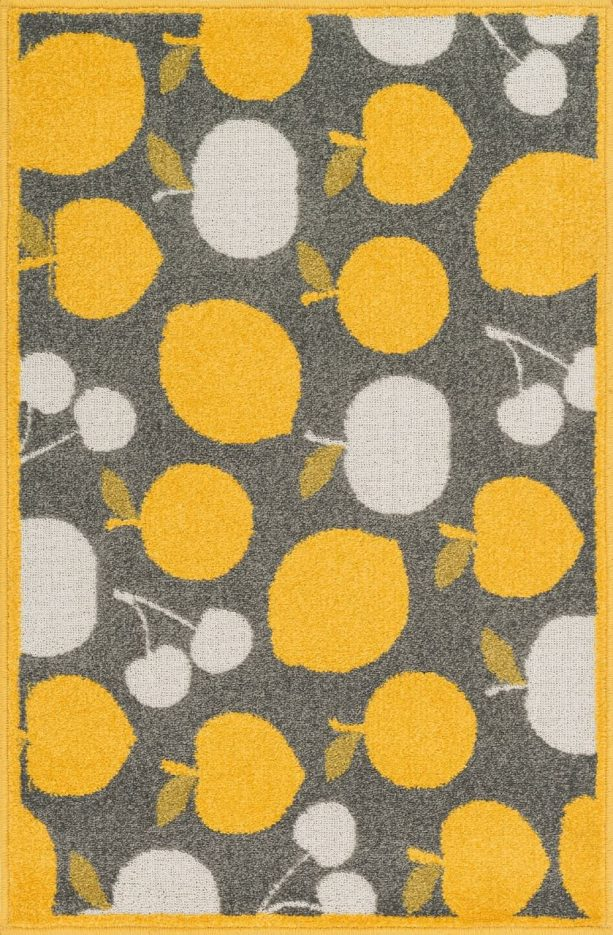contemporary grey and yellow area rug with fruits pattern