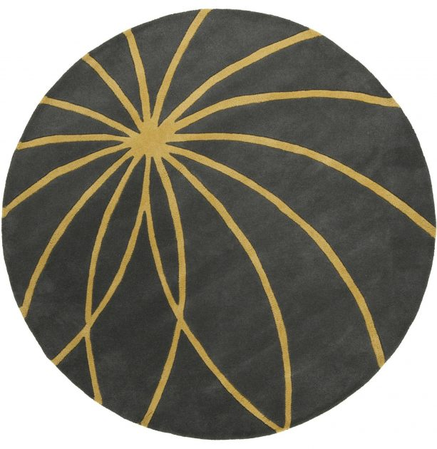 round grey and yellow area rug with contemporary pattern