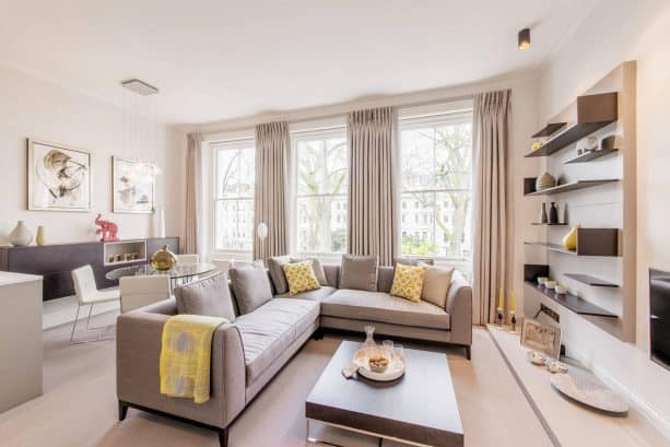 transitional greige and yellow living room