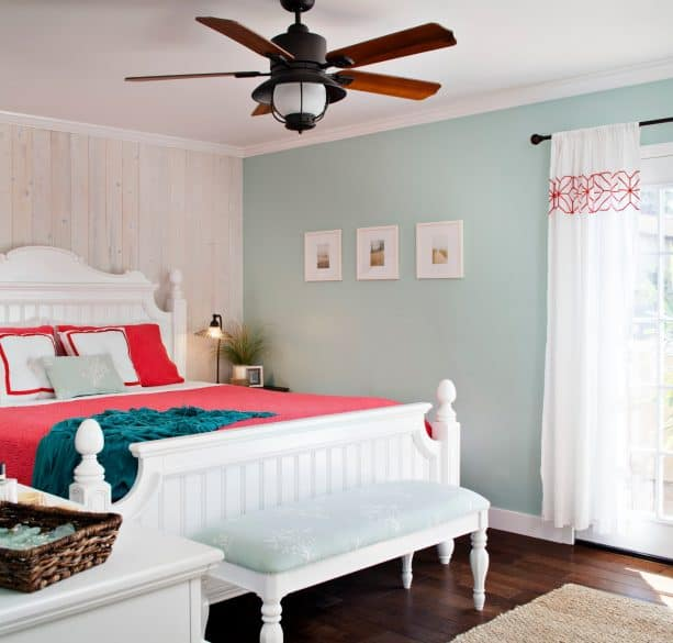 blue, grey, and coral bedroom scheme