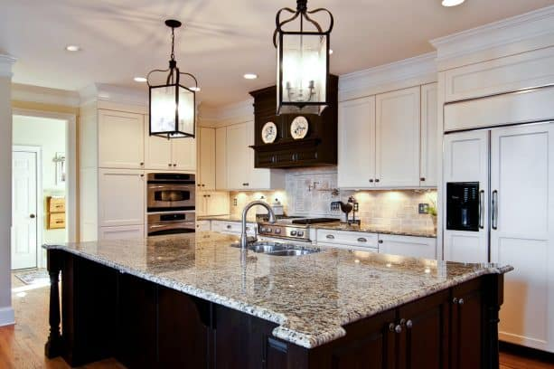 brown and cream kitchen cabinets