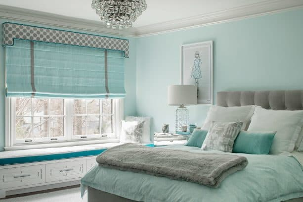 refreshing look in a blue and grey bedroom