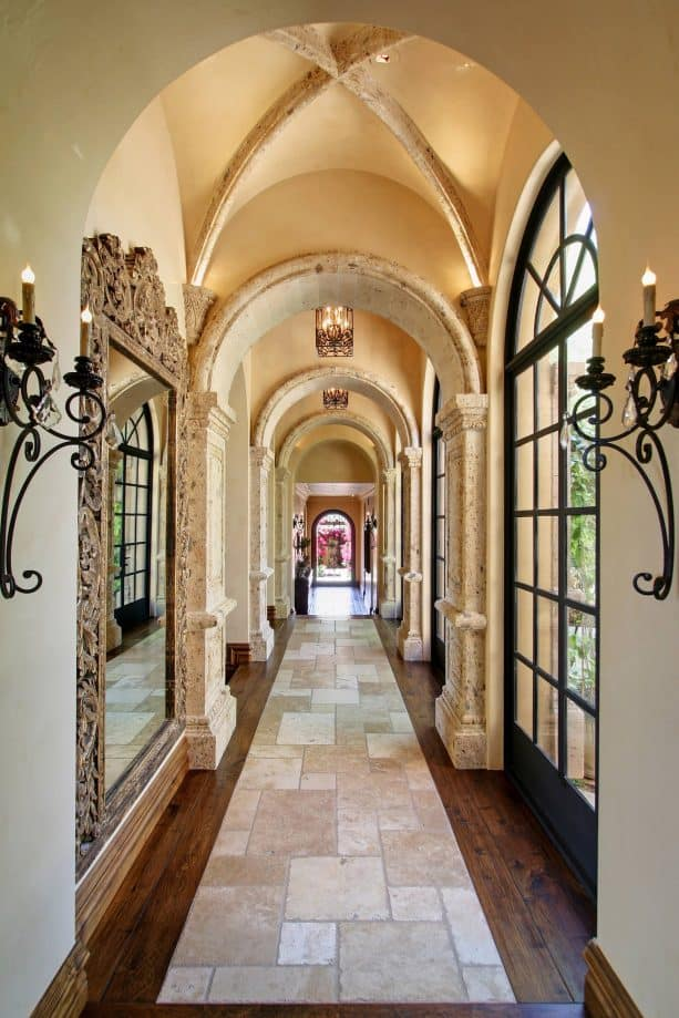 Mediterranean hallway with light tan color