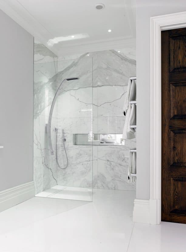 grey and white bathroom with sleek shower room