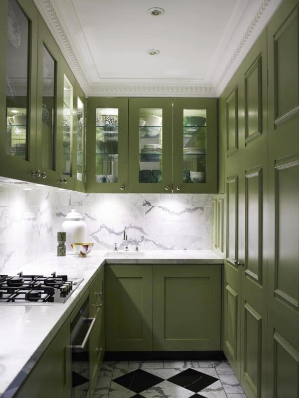 olive green cabinets in a narrow kitchen