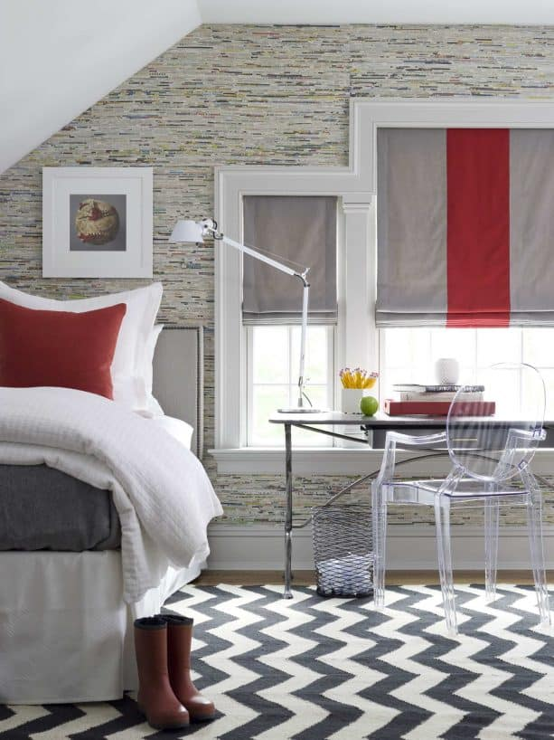 red and grey teen girl bedroom