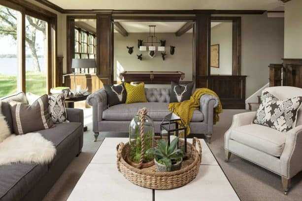 grey and mustard living with leather sofas in different gray tones