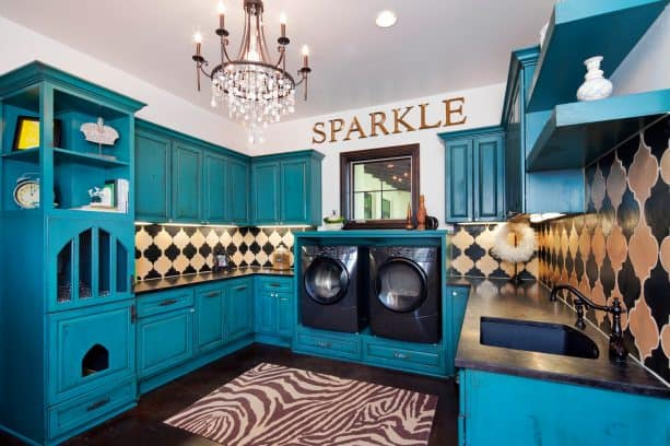 medium blue-green and white laundry room