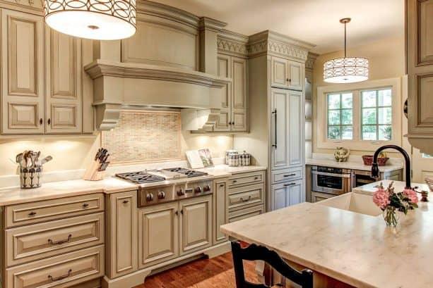 off-white kitchen cabinets with espresso glaze