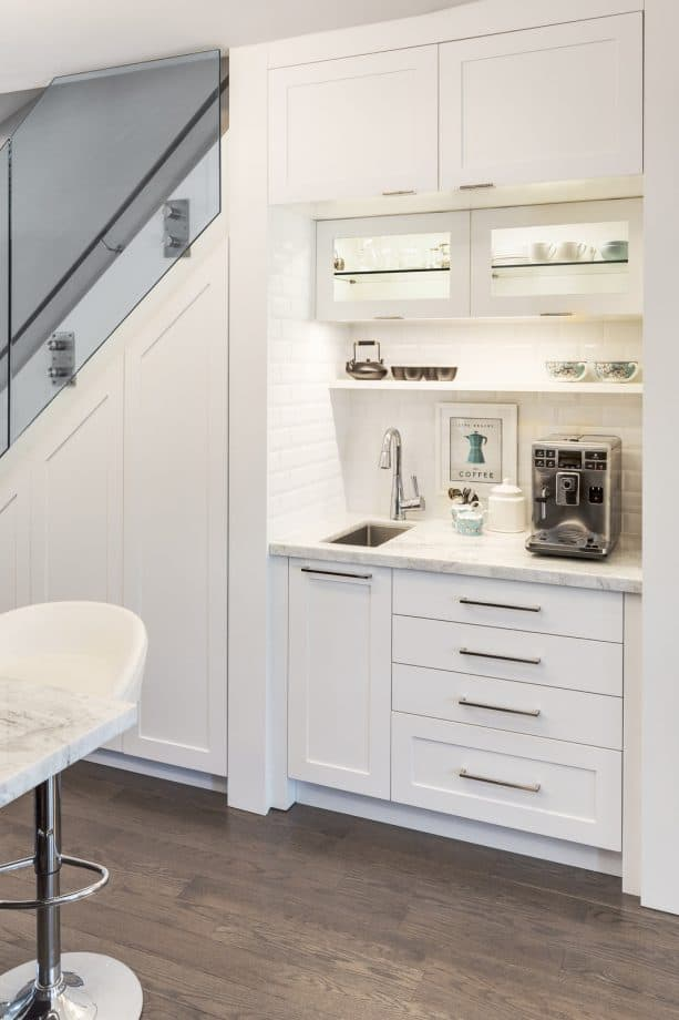 white shaker cabinets for a coffee bar