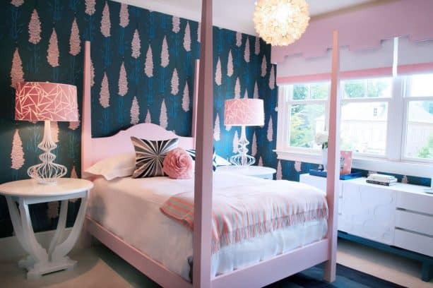 girl's bedroom with navy blue and soft pink theme