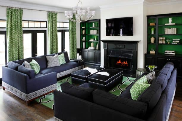 navy blue and green living room