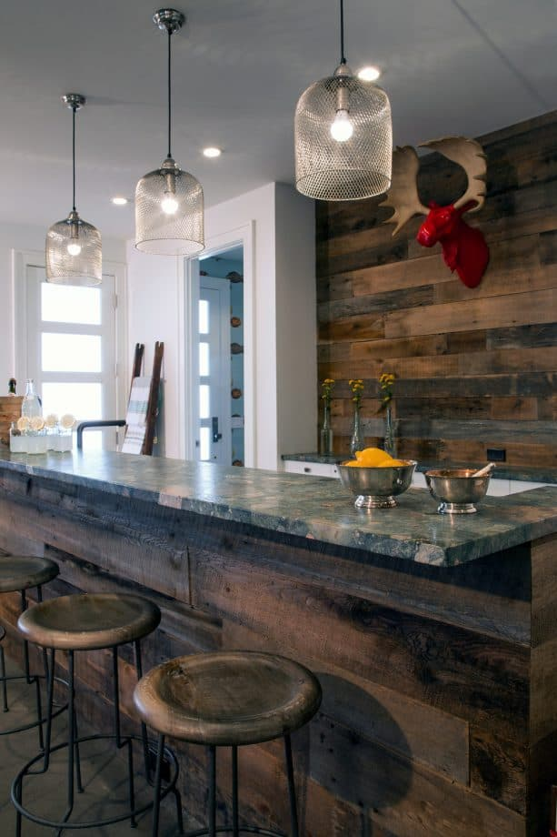 bold rustic counter-to-ceiling backsplash