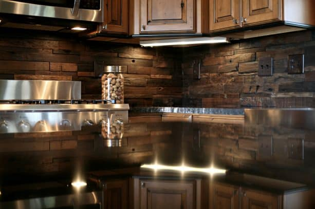 rustic mosaic wooden backsplash