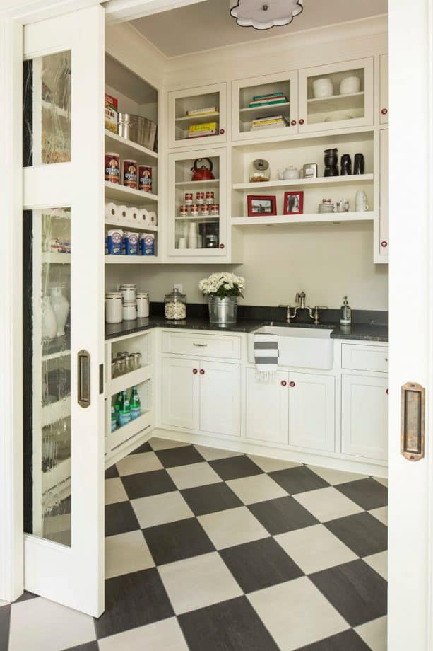 diamond-style black and white checkered ceramic tile floor in a transitional kitchen design