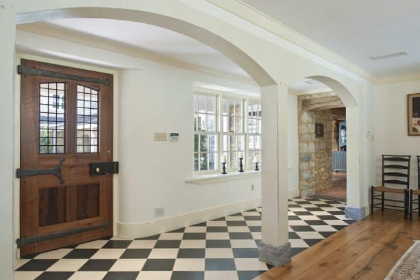 mix granite and marble checkered flooring
