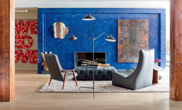 cobalt blue fireplace surround from glazed thin brick tiles