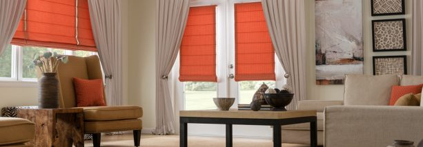 orange blackout roman shade in hobbled style for French doors