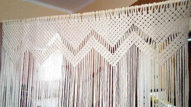 Node for Happiness white macramé curtain for glass door