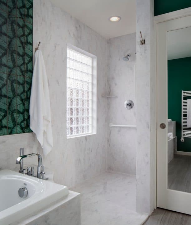 Rain Cloud solid wall panels in a transitional shower room