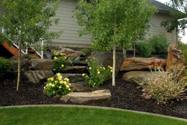 backyard landscaping with boulders and rock-straw mulch combo