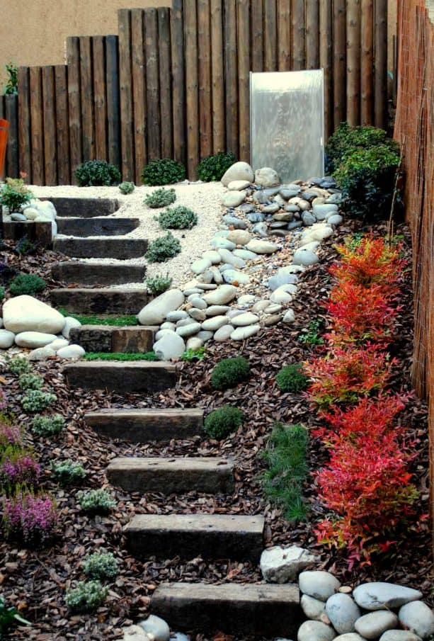 contemporary staircase landscape with white rocks and dried leaves mulch