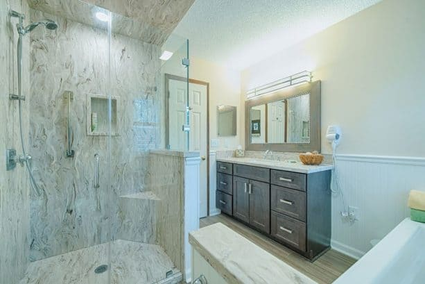 full-remodeling project with solid surface in a shower room