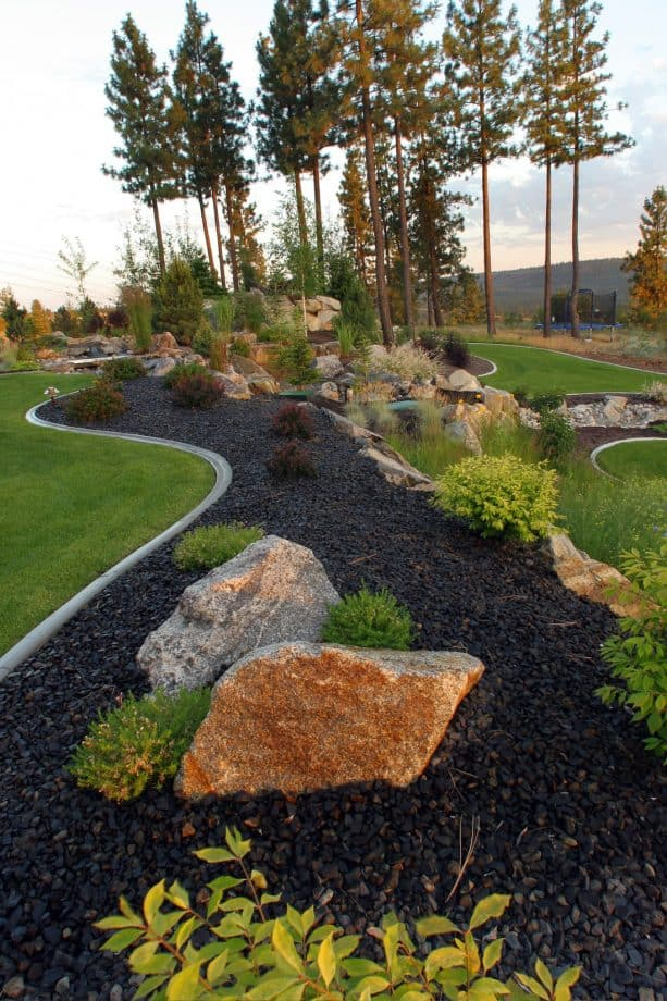 granite rock boulder and basalt rock mulch
