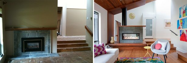 a before and after photo of a living area in a split-level house